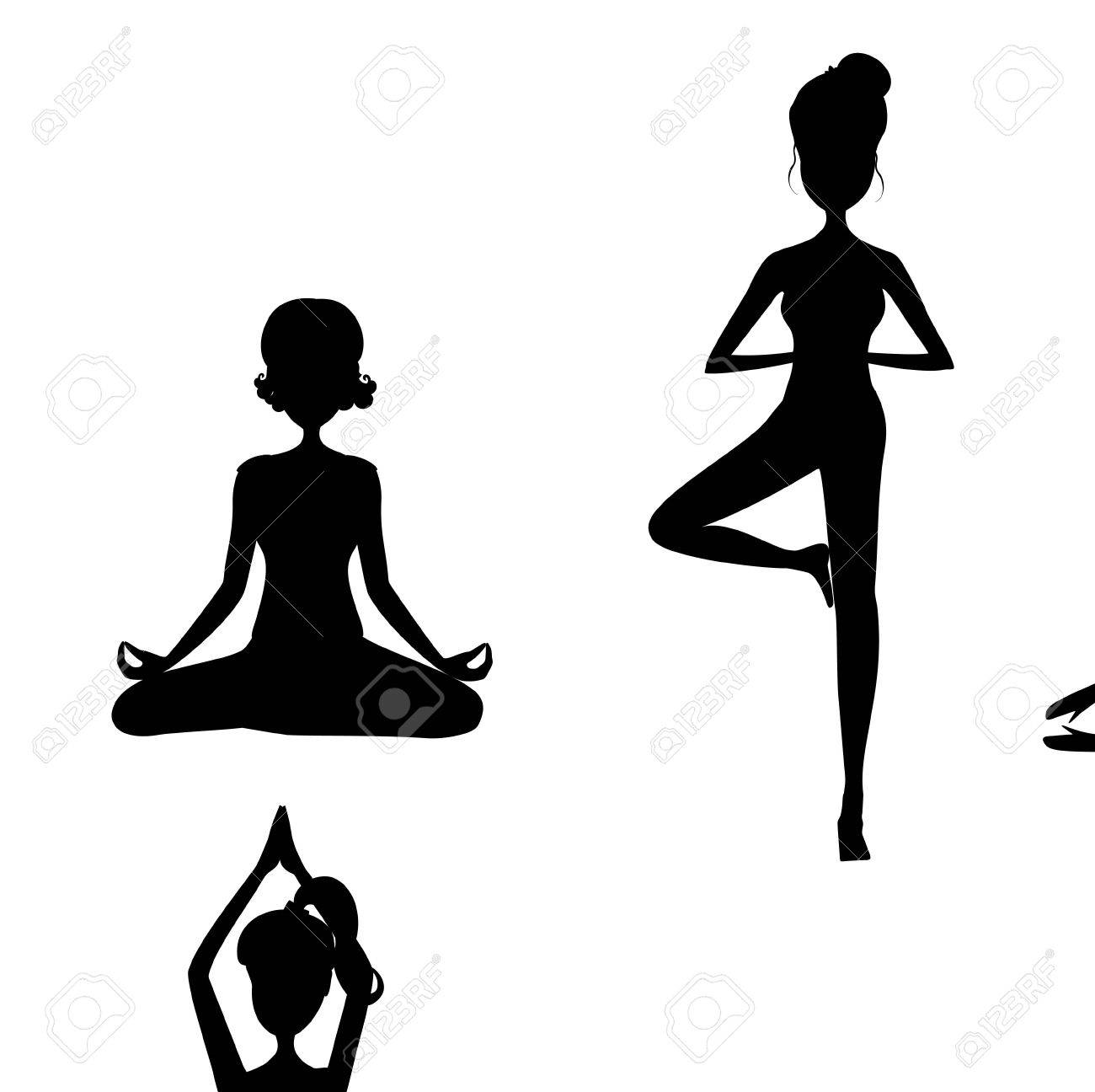 Black Silhouette Of Yoga Pose Cartoon Girl In Yoga Postures Black Royalty Free Cliparts Vectors And Stock Illustration Image 63576836