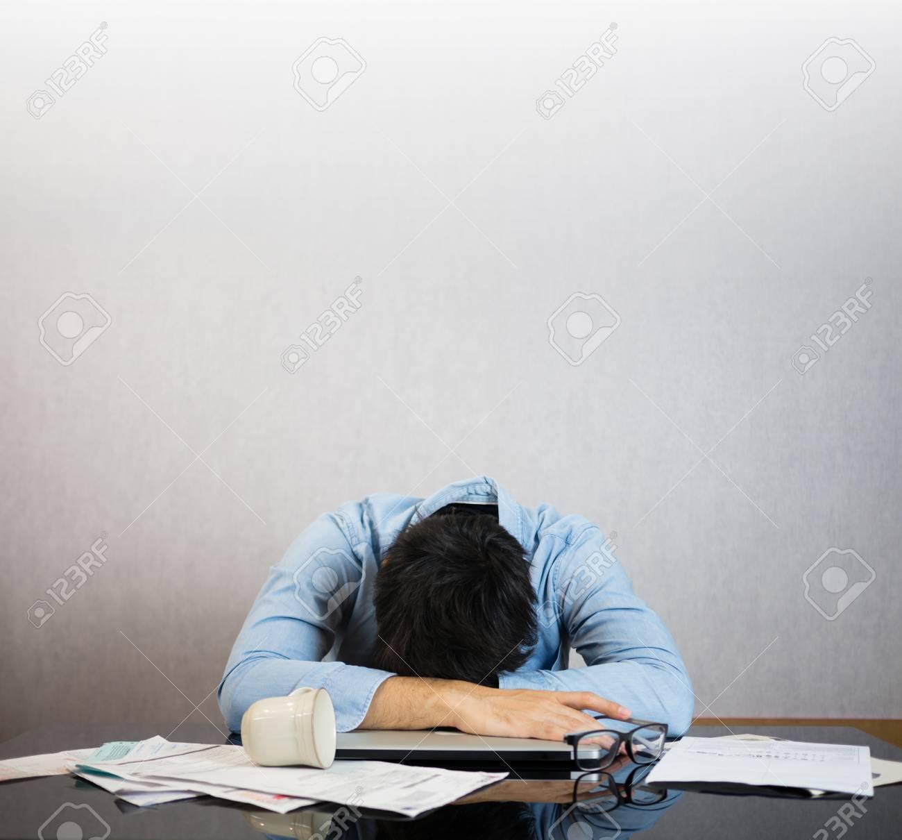 Fall asleep on work desk, stress and study hard concept - 86951568