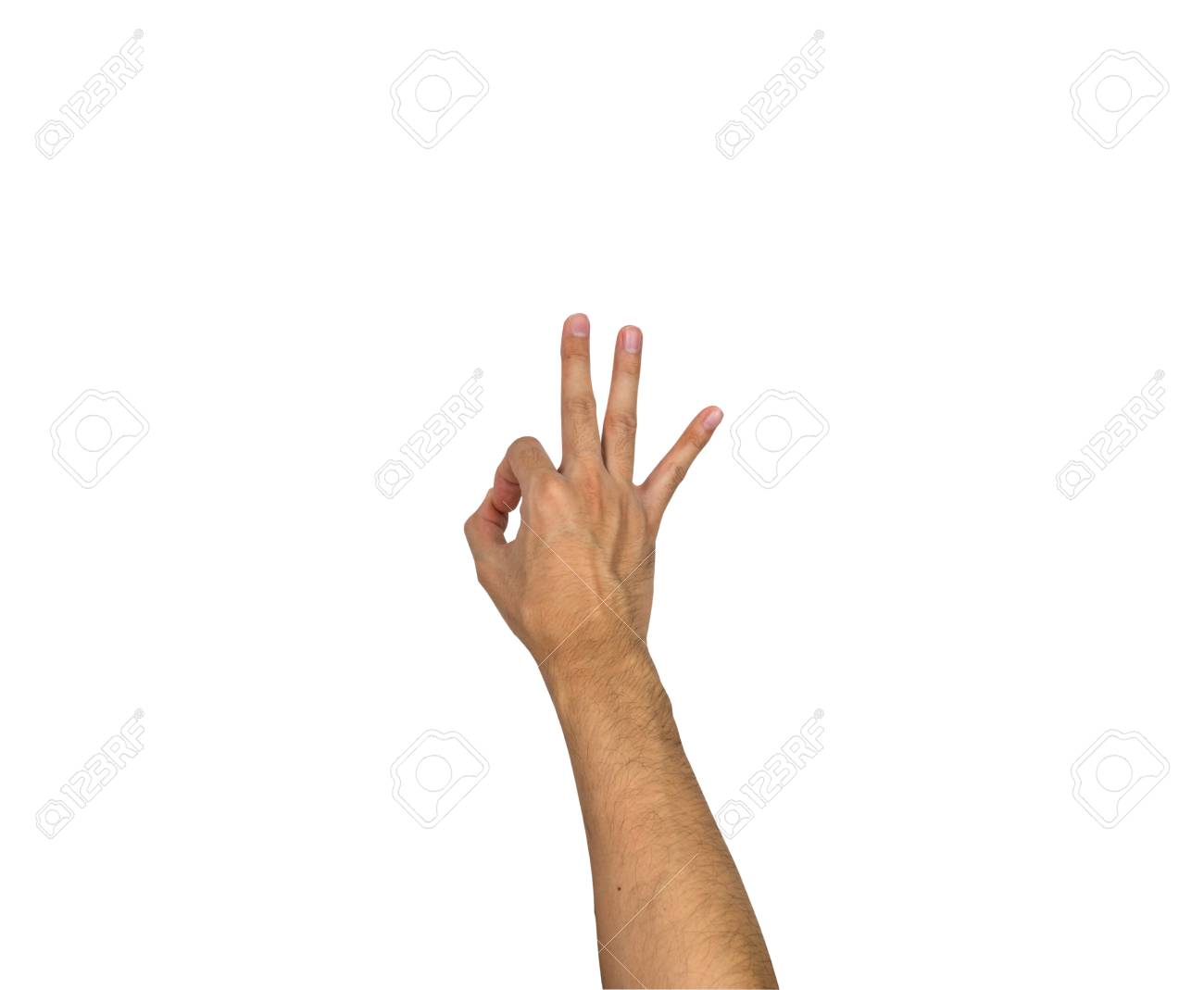 ok hand sign gesture isolated on white background stock photo
