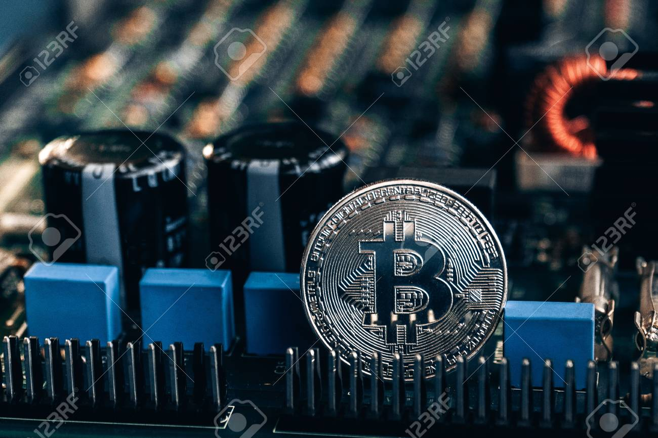Printed Circuit Board With A Capacitor And Bitcoin Stock Photo Of Transistors Capacitors Other Components 97587358