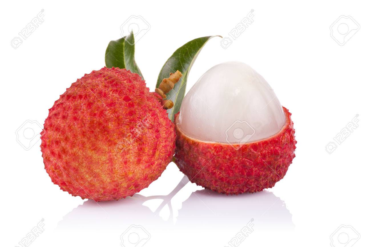 Fresh lychees isolated on white - 41798781