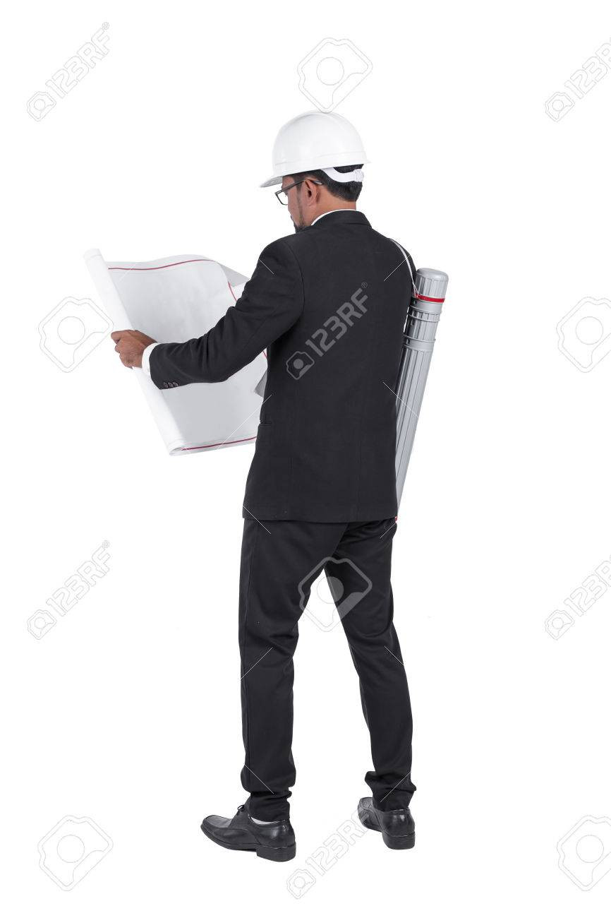 Engineer wear security helmet look at blueprint paper construction engineer wear security helmet look at blueprint paper construction drawing plan on white background stock malvernweather Choice Image