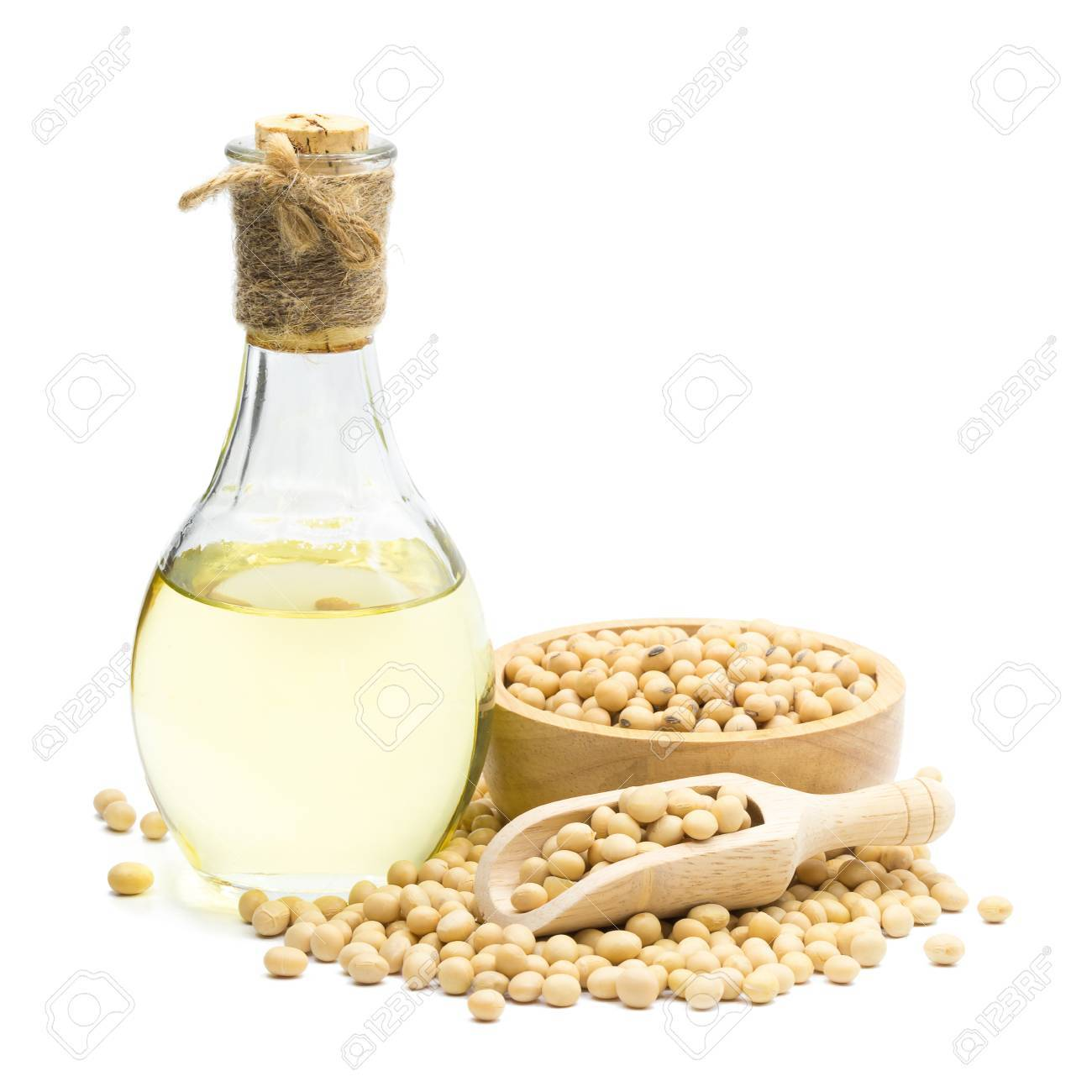 Soybean and Soybean oil bottle isolated on white background. - 84292358