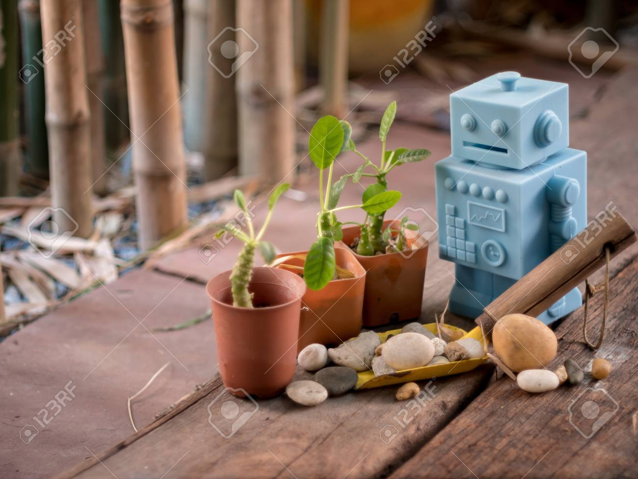 Blue Retro Robot Toys With Garden Tools And Wood Floor Pattern ...