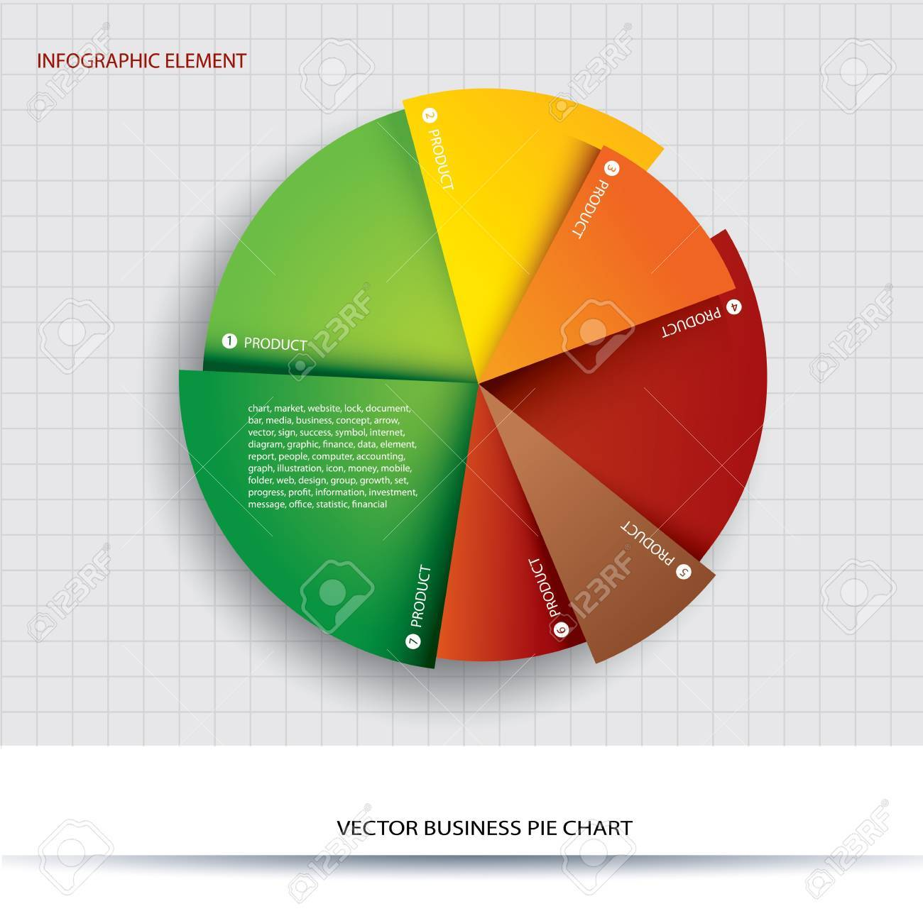 business pie chart paper info graphics for documents and reports