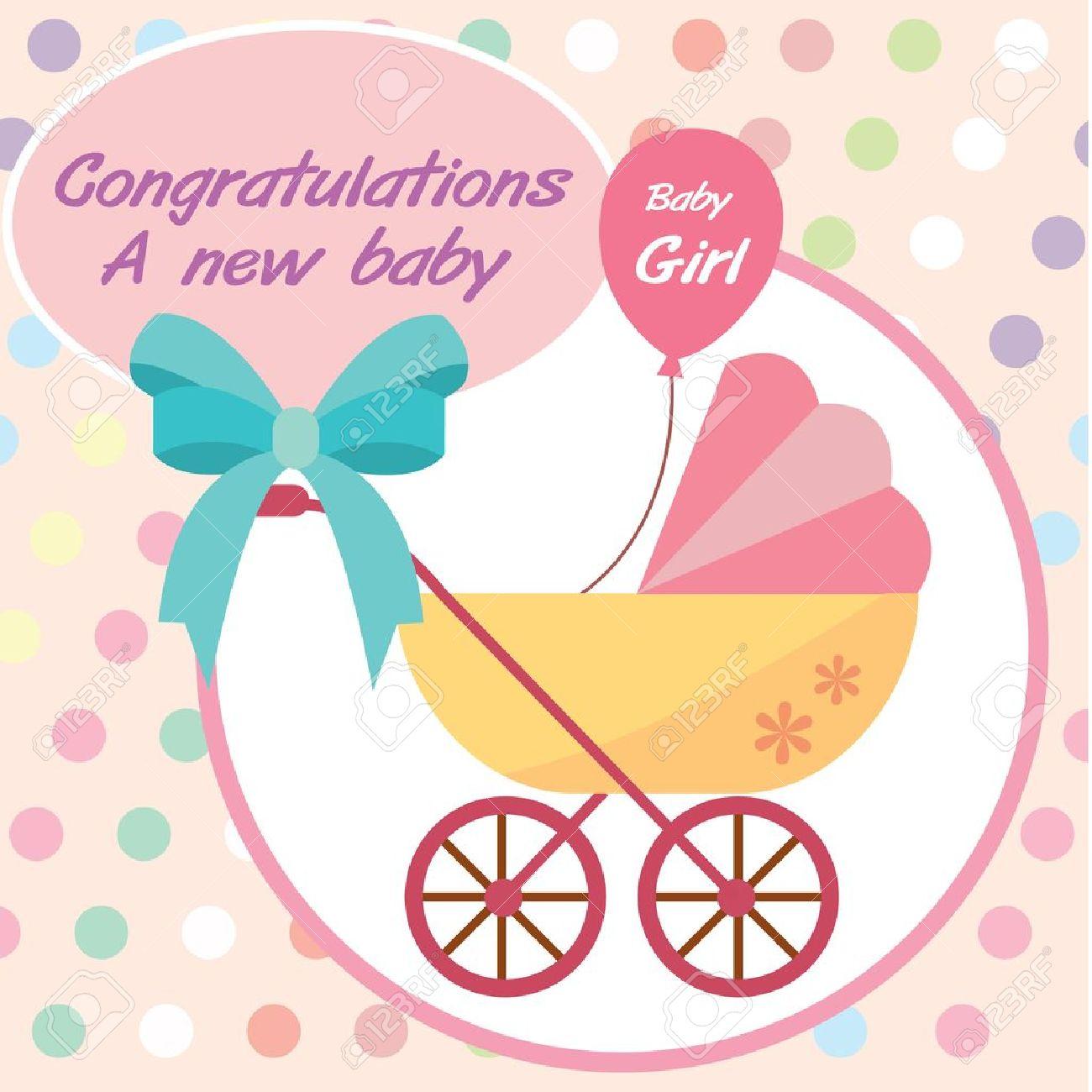 Card New Born Baby Girl Royalty Fri Clipart Vektorer Och