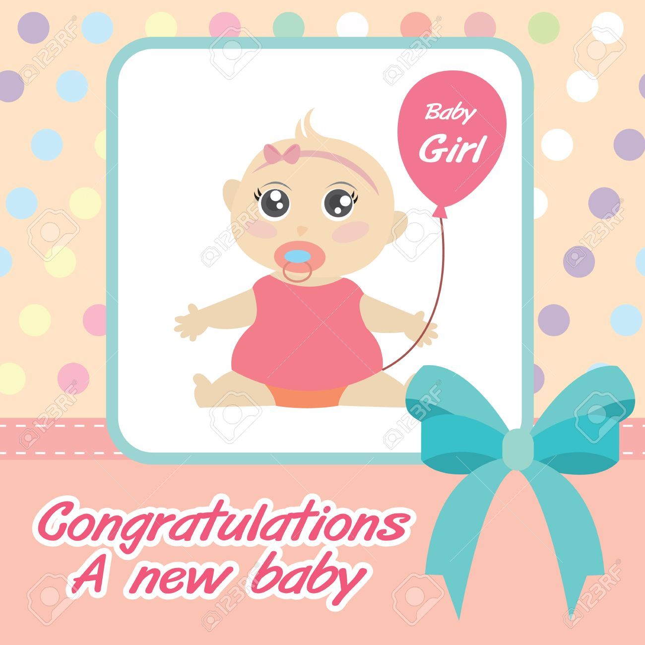Card New Born Baby Girl Royalty Free Cliparts, Vectors, And Stock ...