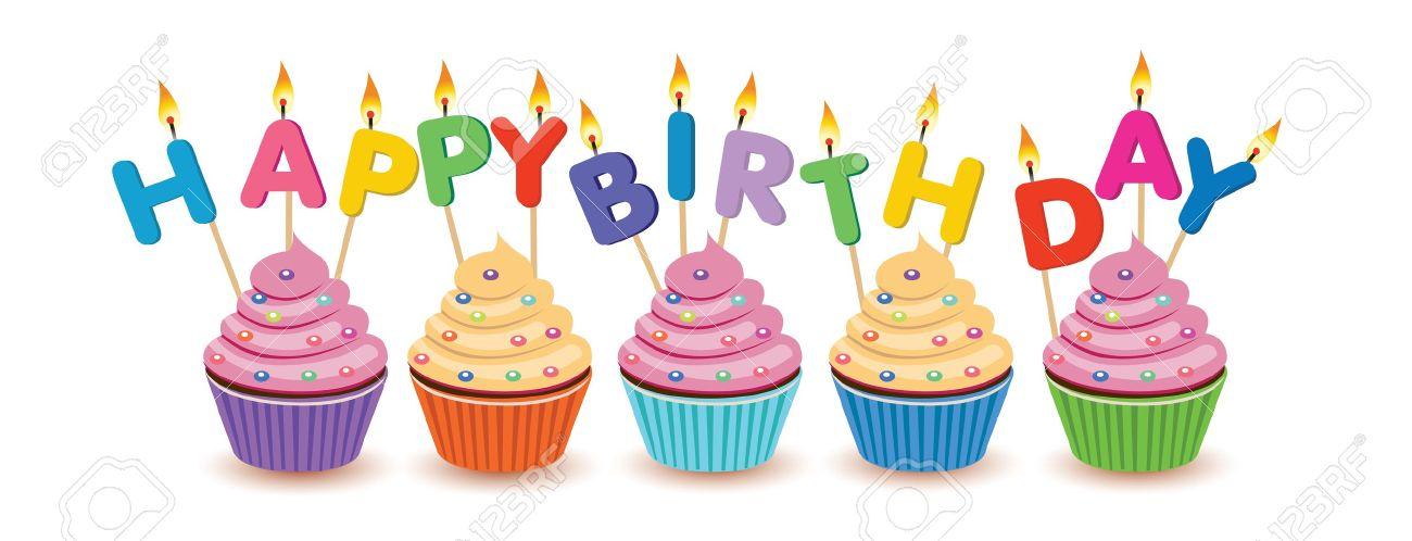 Birthday Cupcakes Isolated Happy Card Stock Vector