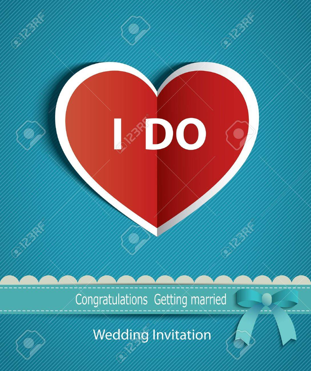 Wedding Card In The Form Of Heart Paper With Ribbon Royalty Free ...