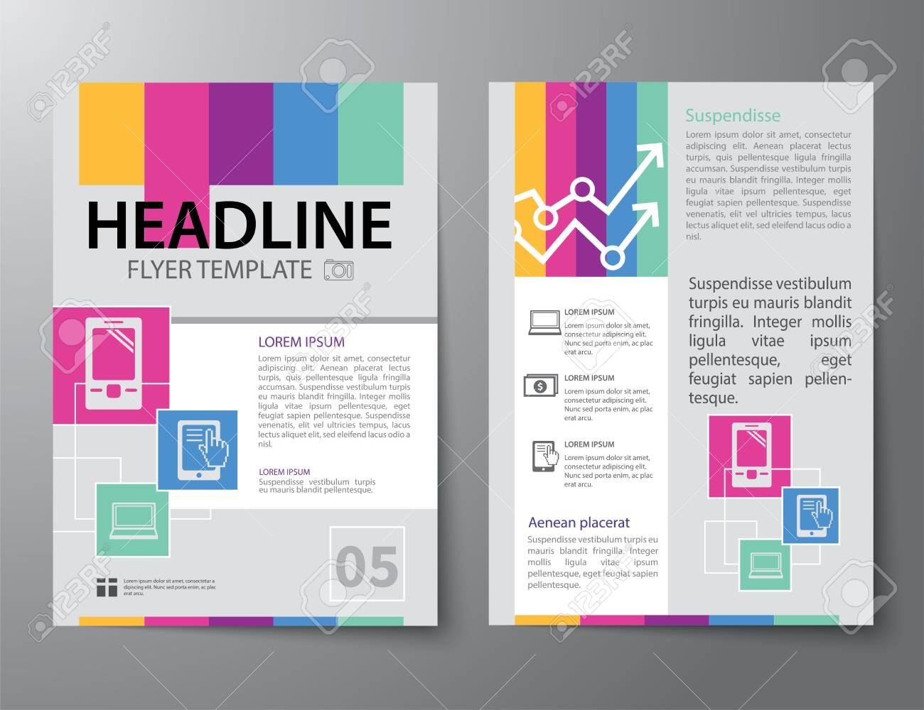 Set of business magazine cover flyer brochure flat design set of business magazine cover flyer brochure flat design templates stock vector 39554745 accmission Choice Image