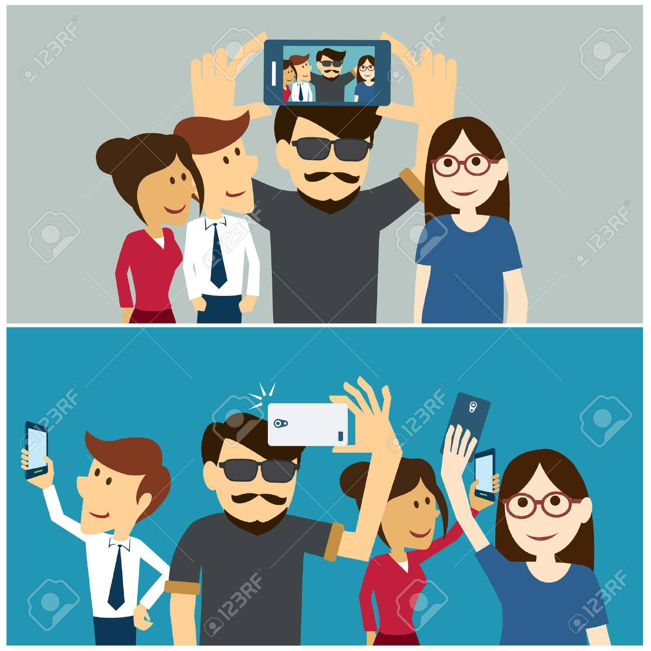 taking a selfie photo flat design royalty free cliparts vectors