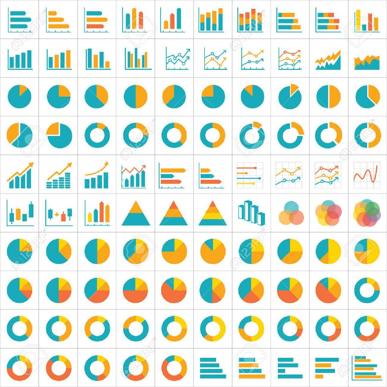 100 graph and chart infographic icon flat design - 41129531