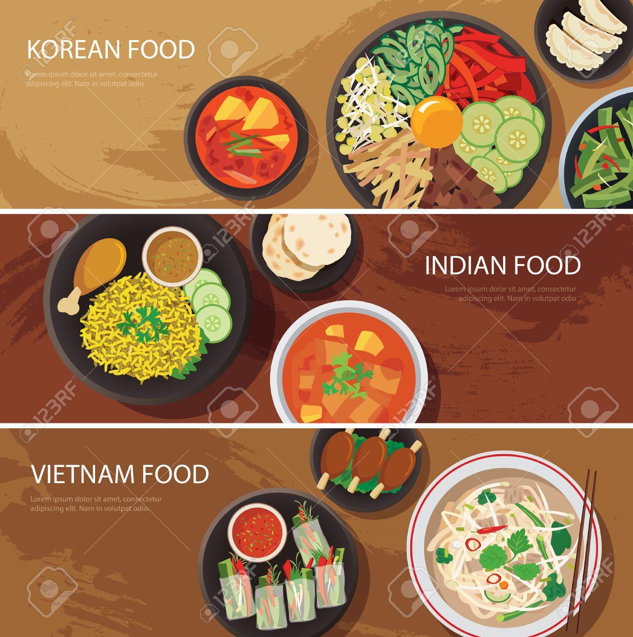 Asia Street Food Web Banner, Koreanische Küche, Indisches Essen, Vietnam  Food Flaches