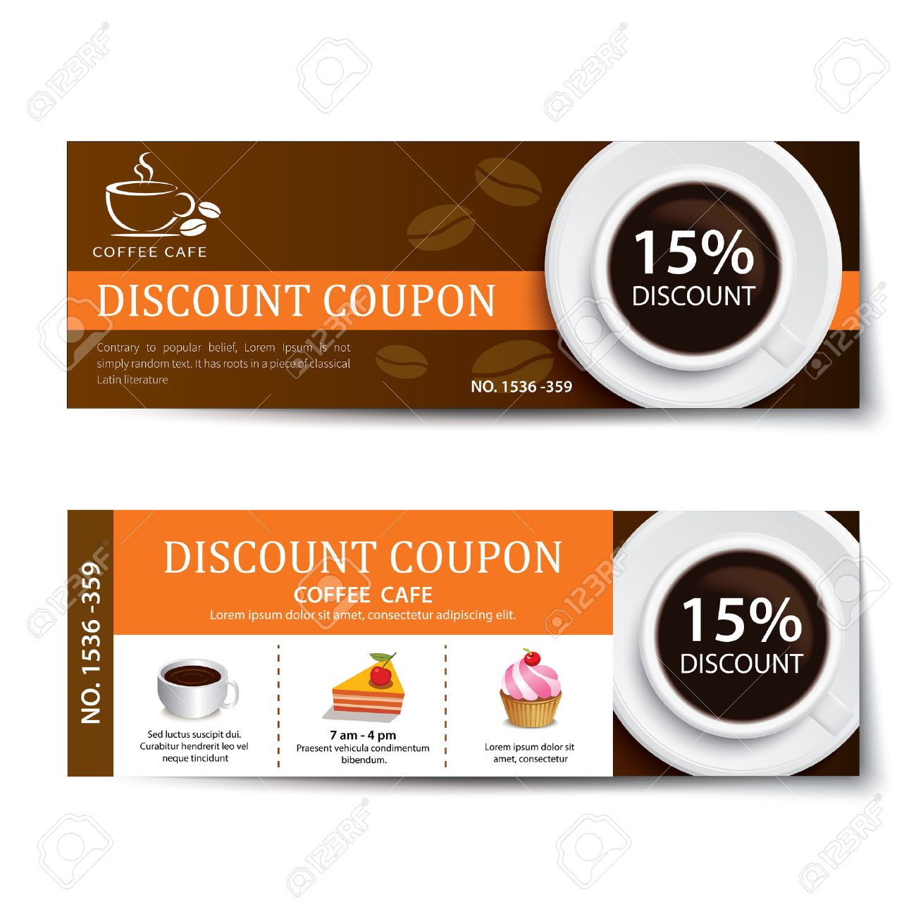 Coffee Coupon Discount Template Design Royalty Free Cliparts ...