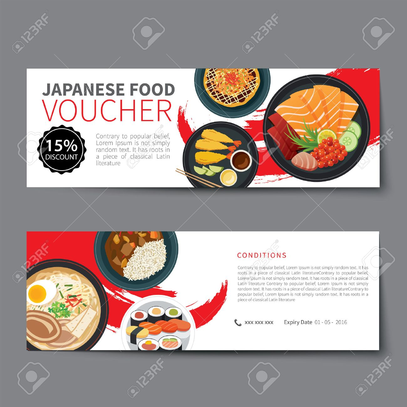 Japanese Food Voucher Discount Template Flat Design Royalty Free ...