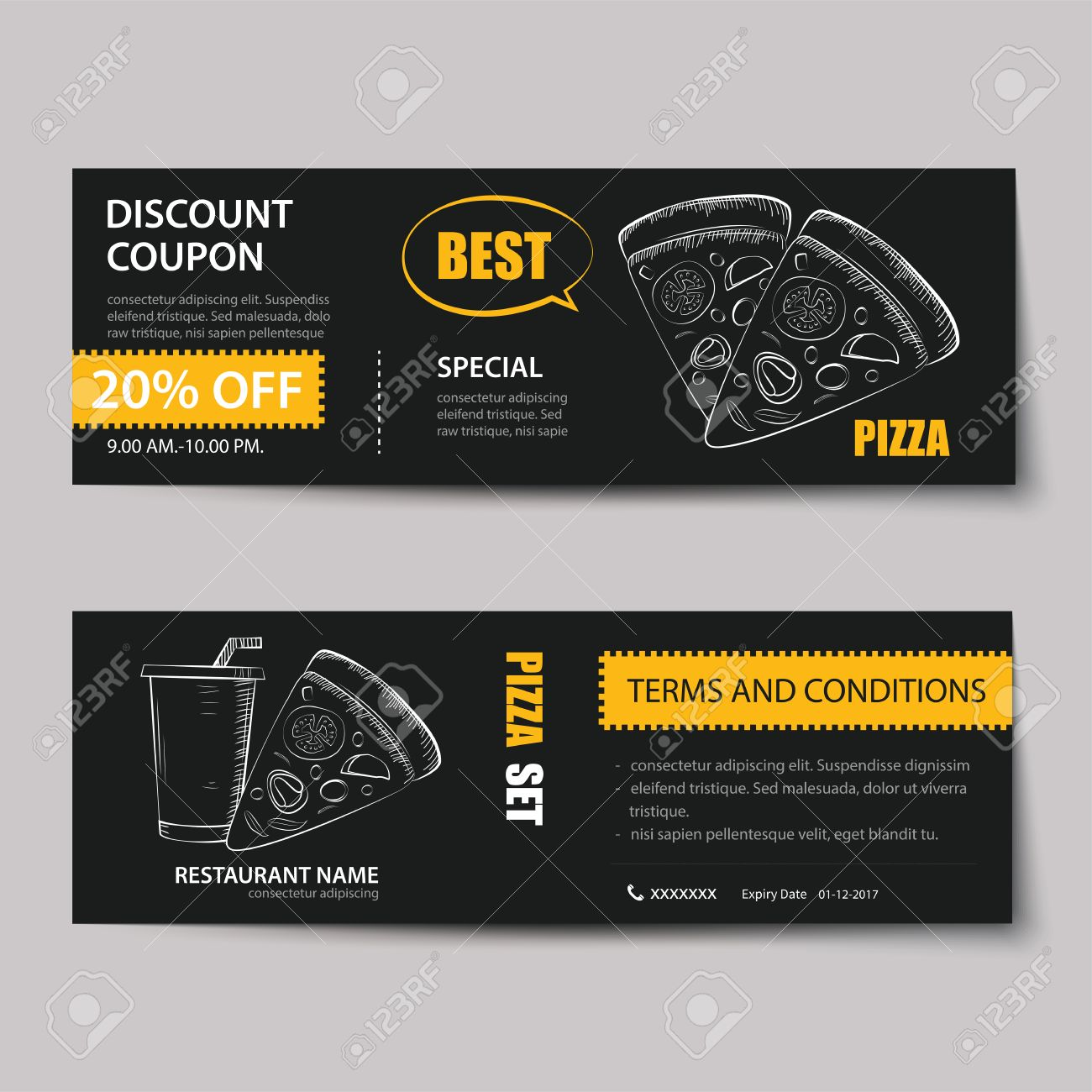 Fast Food Coupon Discount Template Flat Design Royalty Free Cliparts