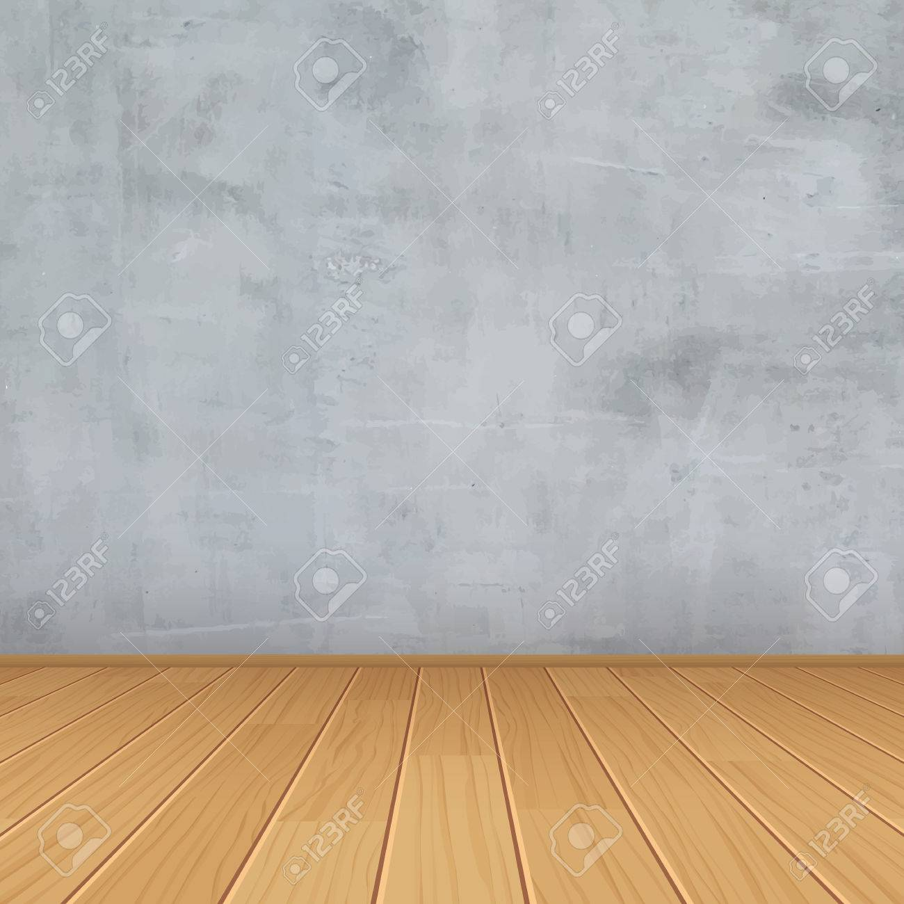 empty room with concrete wall and wooden floor - 54616552