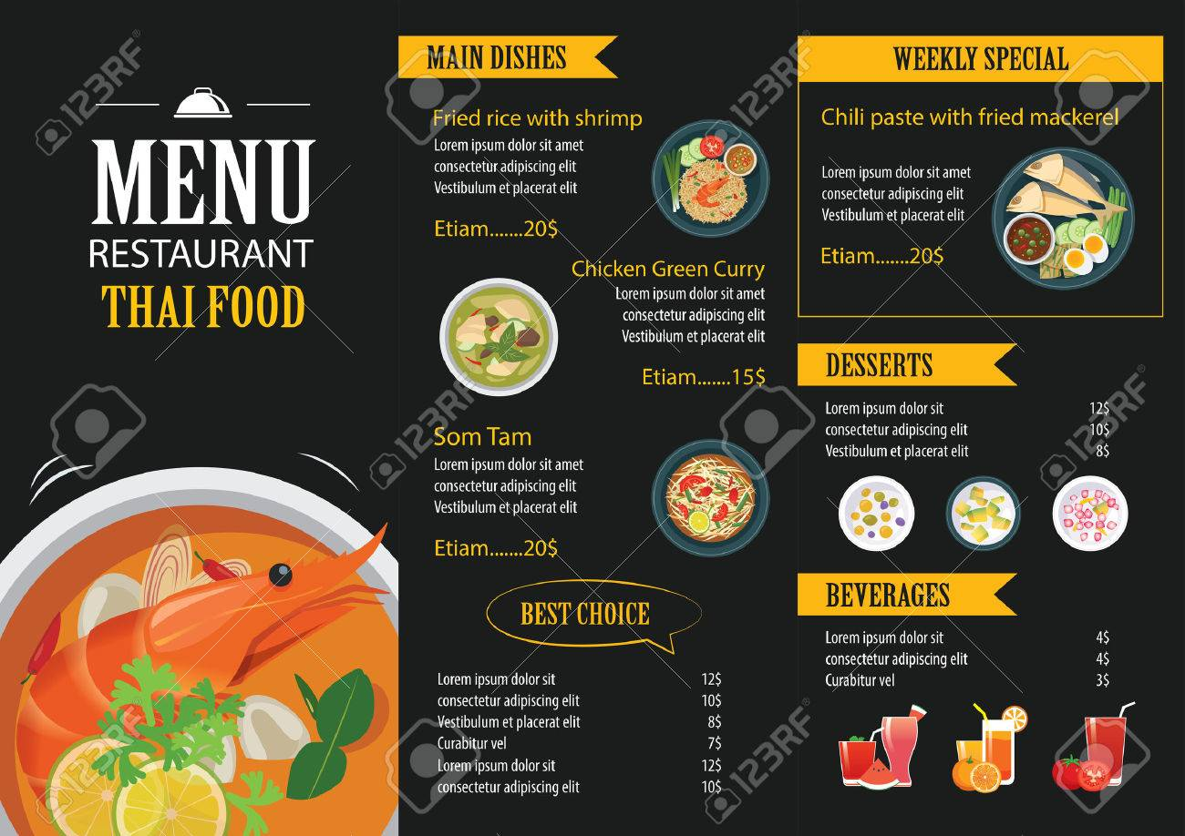 Vector Thai Food Restaurant Menu Template Flat Design Royalty Free ...
