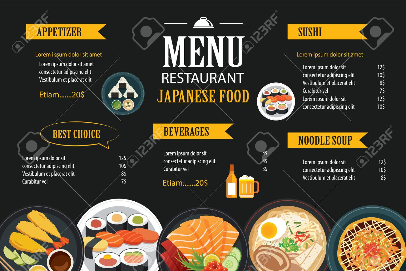 Japanese Food Menu Restaurant Brochure Design Template Royalty Free ...
