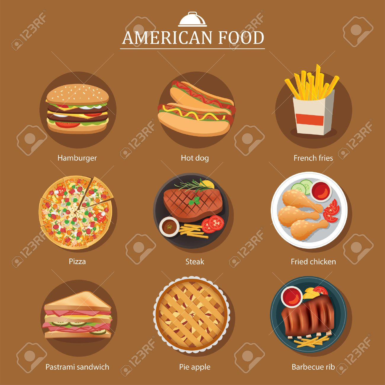 Set Of American Food Royalty Free Cliparts Vectors And Stock
