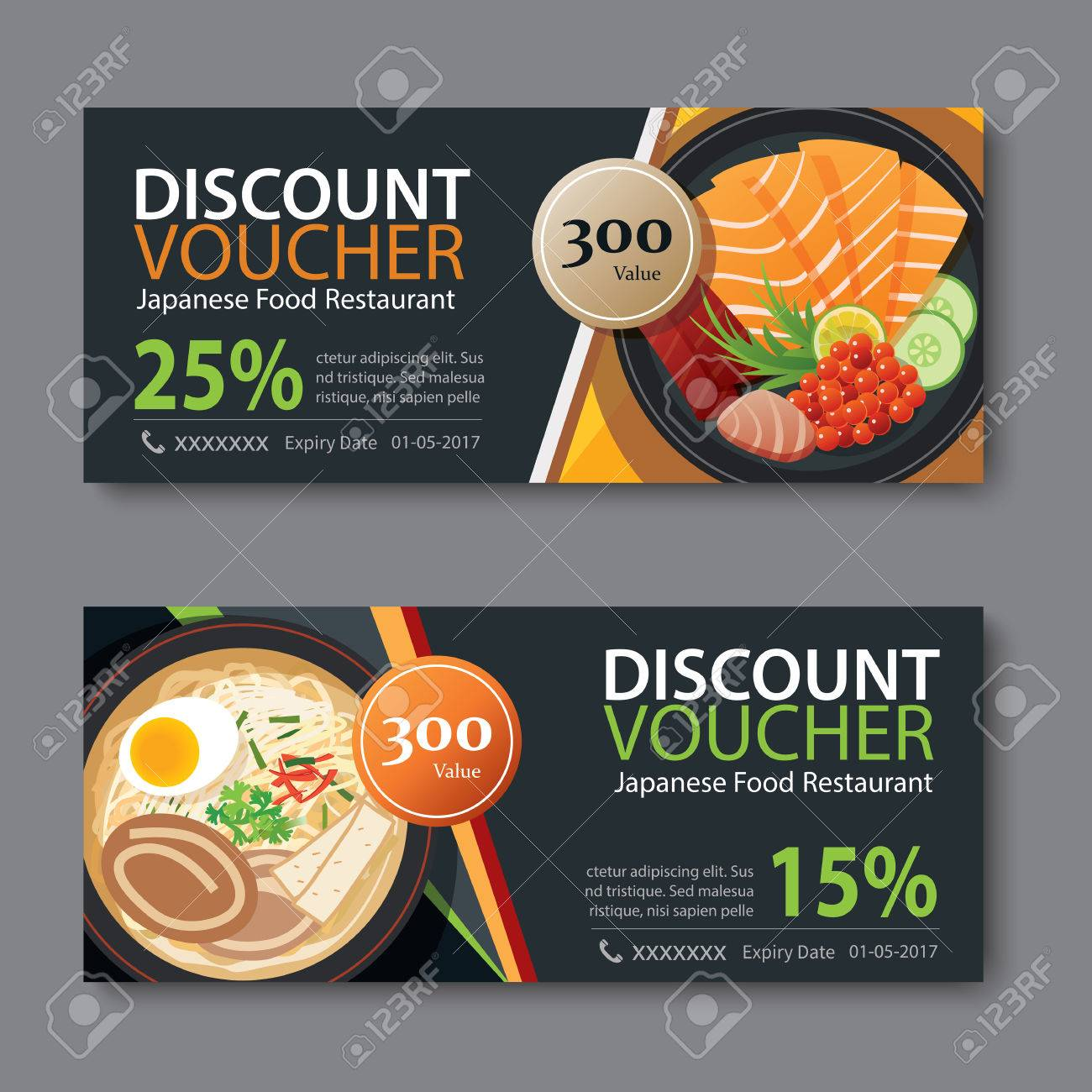 Discount Voucher Template With Japanese Food Flat Design Stock Vector    58388068  Lunch Voucher Template