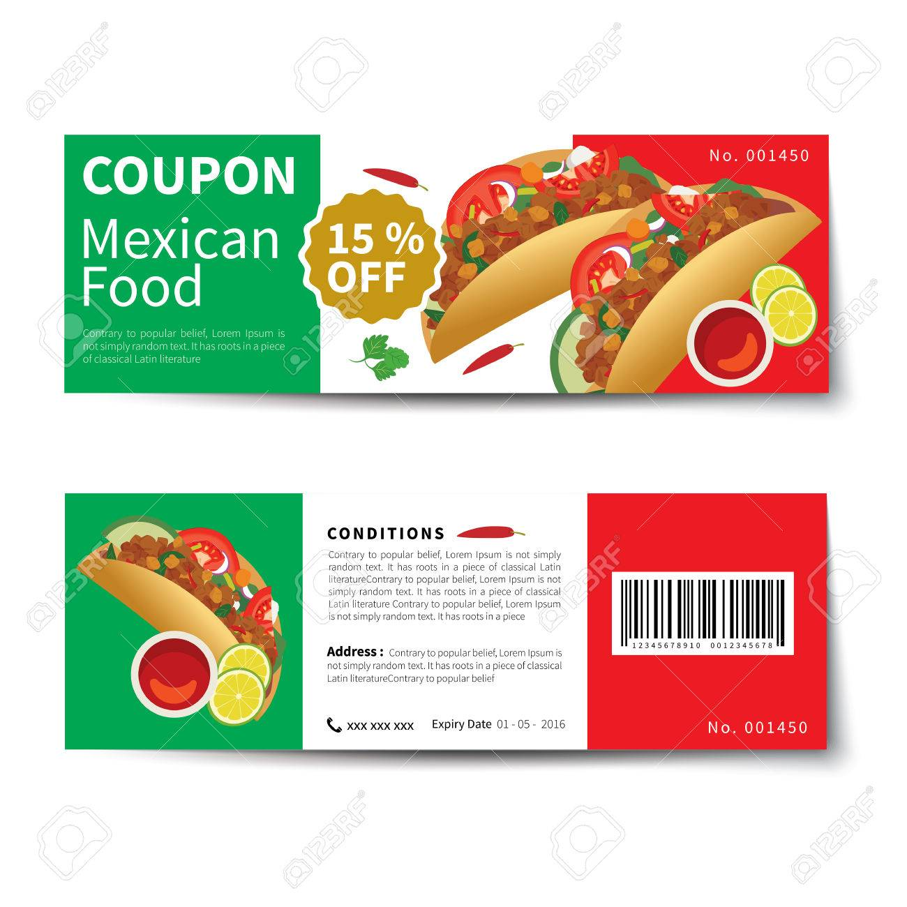 Mexican Food Coupon Discount Template Flat Design Royalty Free