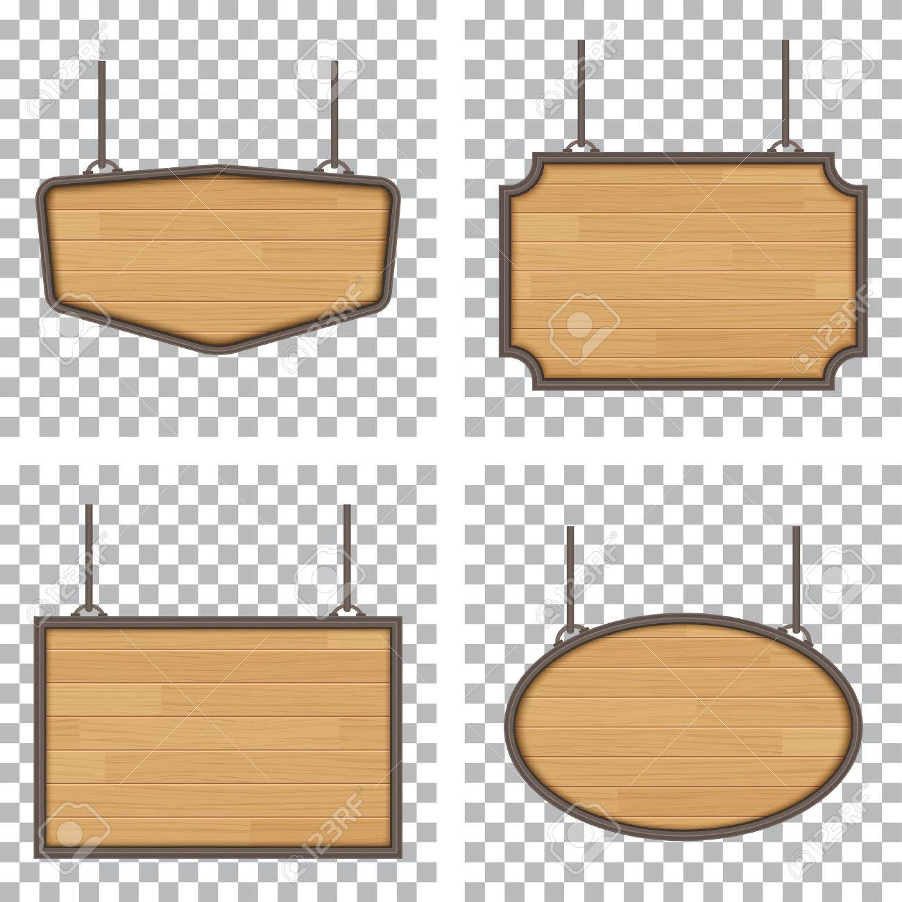 set of vector wooden sign isolated on white background - 58388092