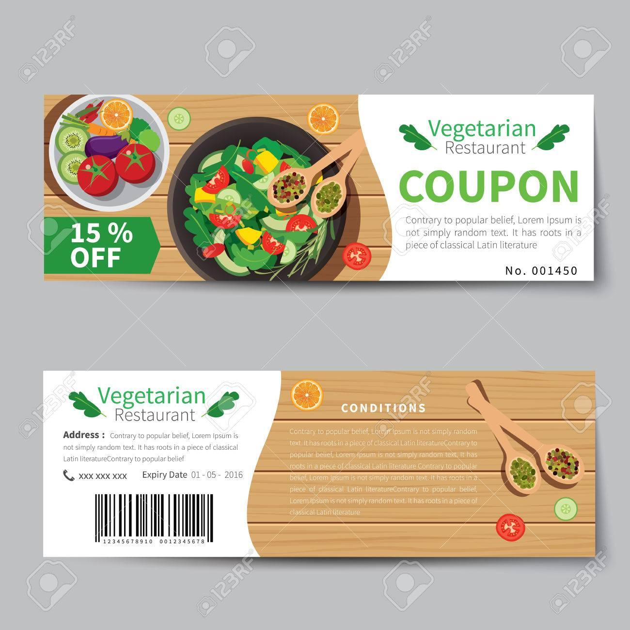 Vegetarian Food Coupon Discount Template Flat Design Royalty Free ...