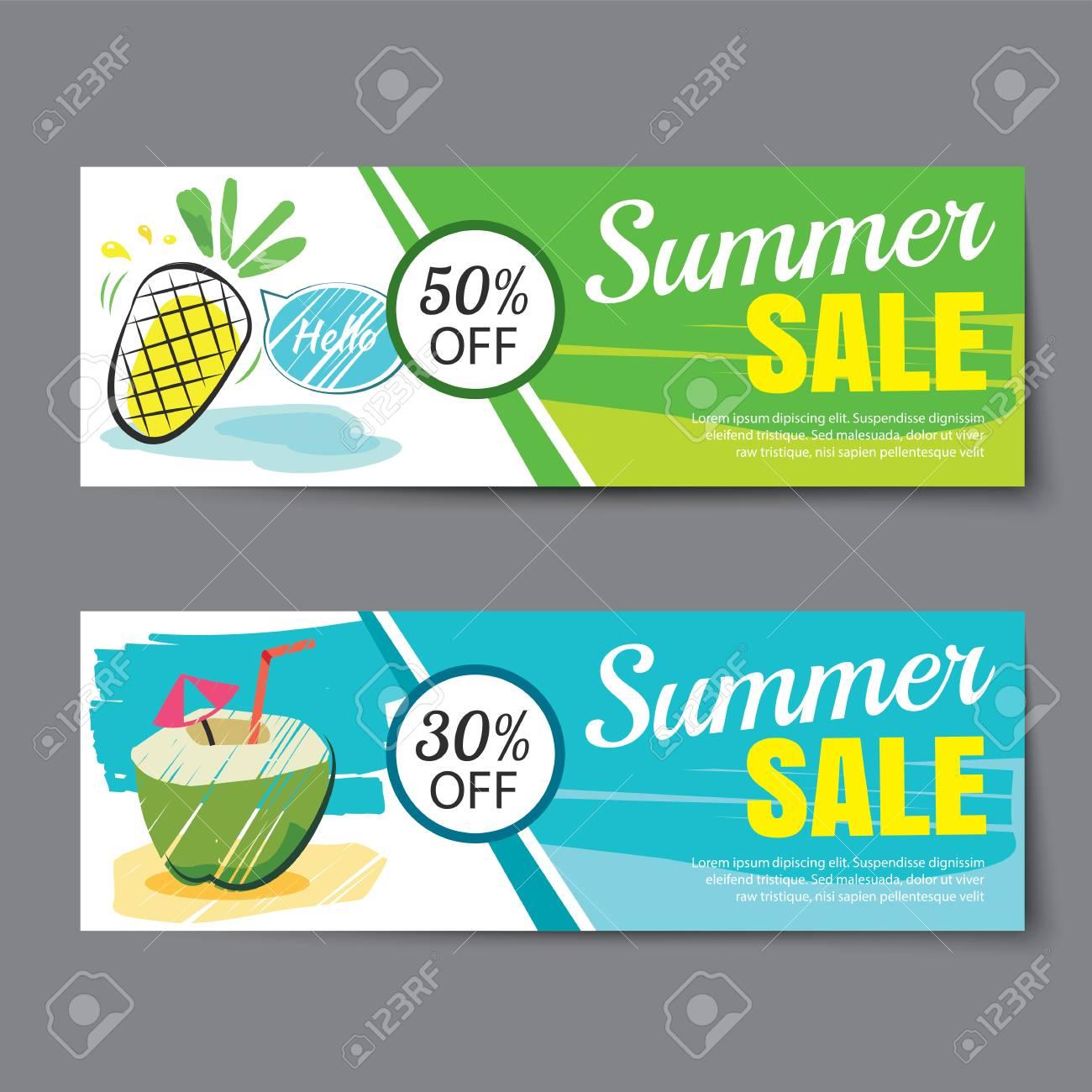 Summer Sale Voucher Template Discount Coupon Banner Hand Drawn