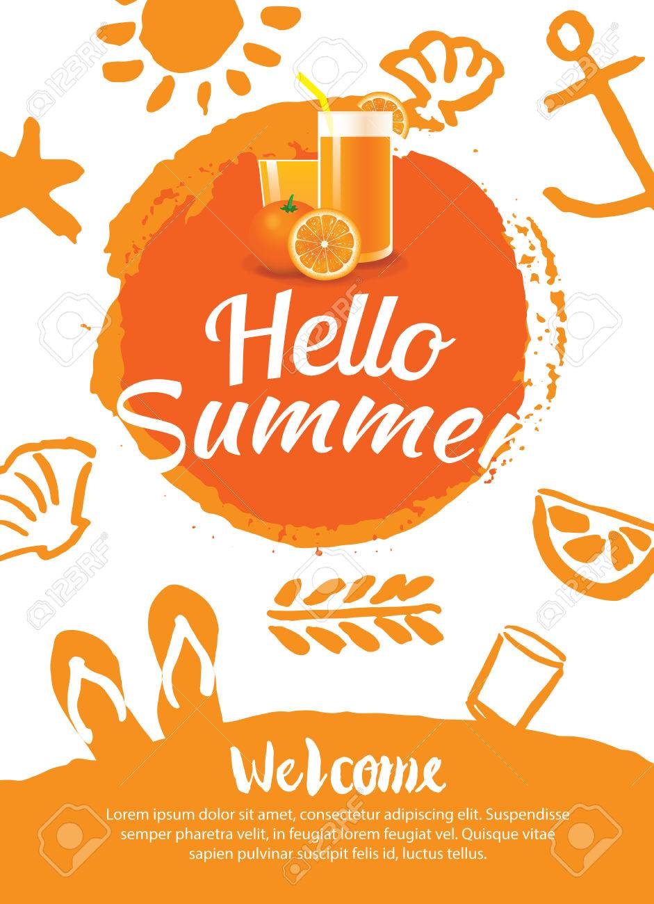 Hello Summer Beach Party Poster Background Template Stock Vector
