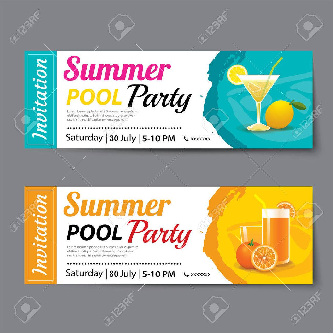 Great Summer Pool Party Ticket Template Stock Vector   61383318 In Party Ticket Template