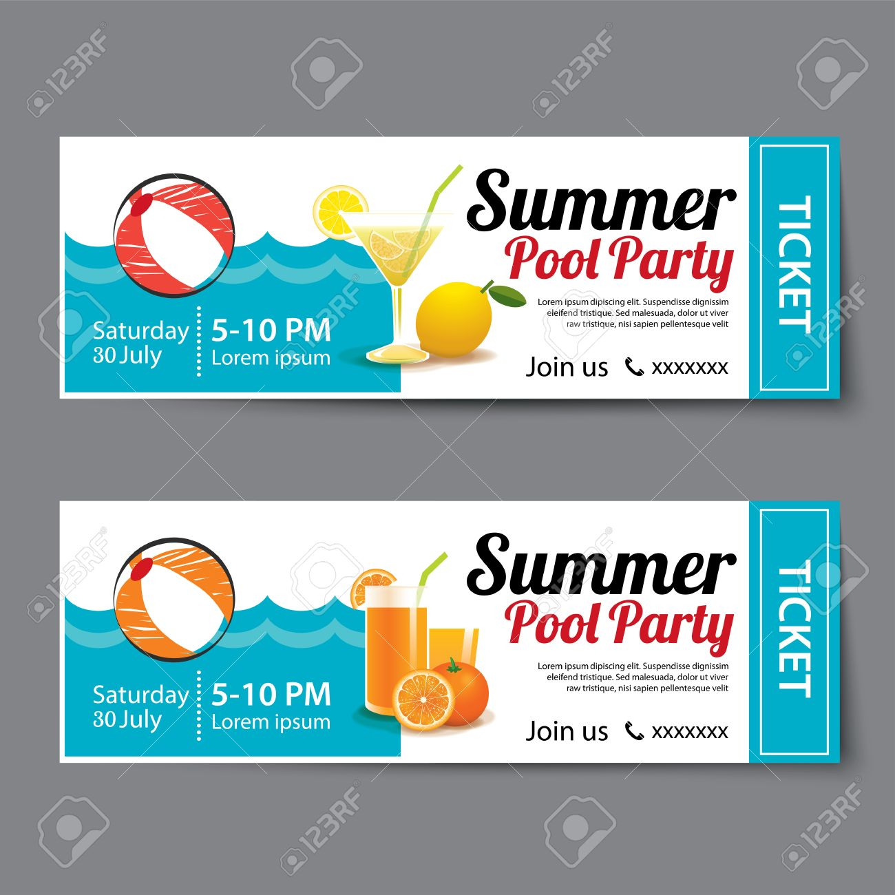 summer pool party ticket template royalty free cliparts vectors