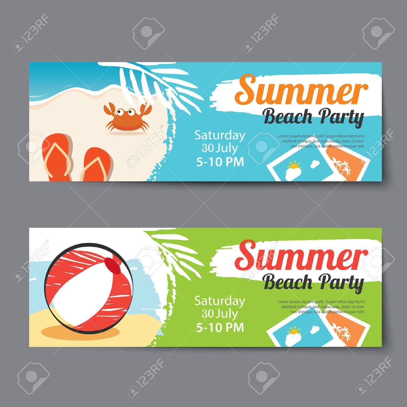 Summer Pool Party Ticket Template Royalty Free Cliparts, Vectors ...