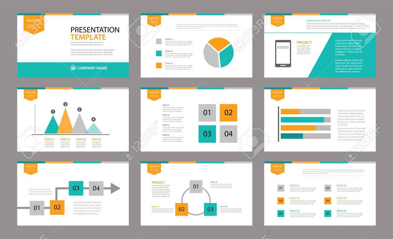 set of presentation template use in annual report corporate