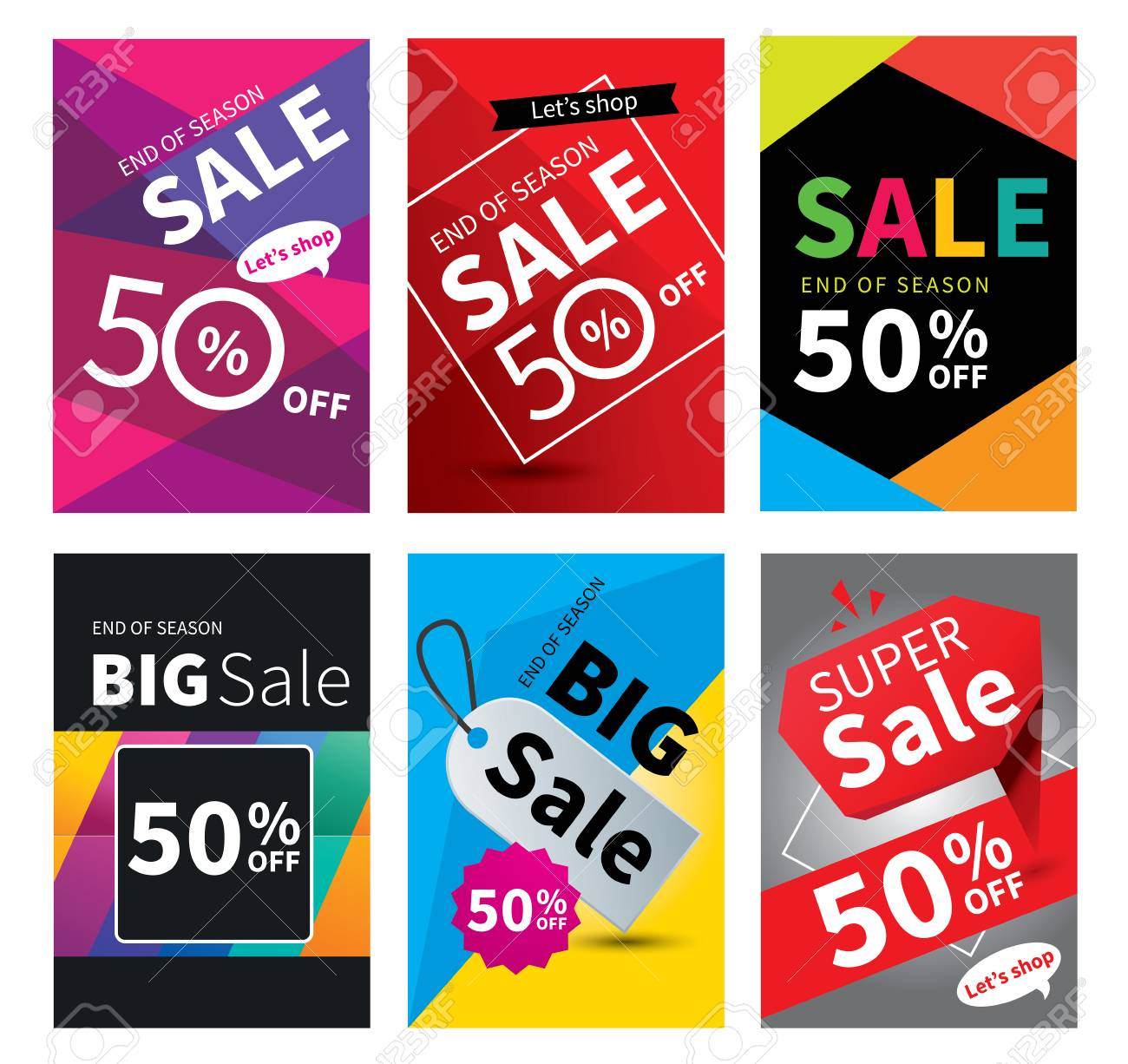 Social Media Sale Banners And Ads Web Template Set. Vector ...