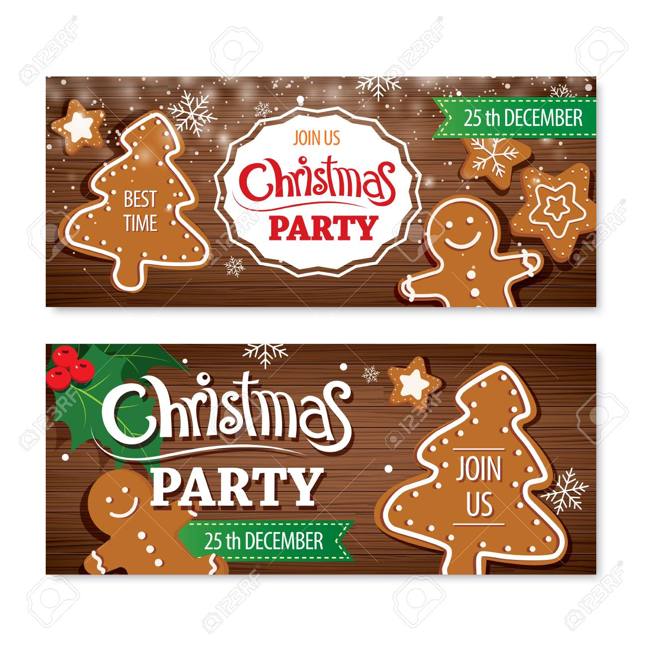 Invitation Merry Christmas Banner And Card Design Template Homemade
