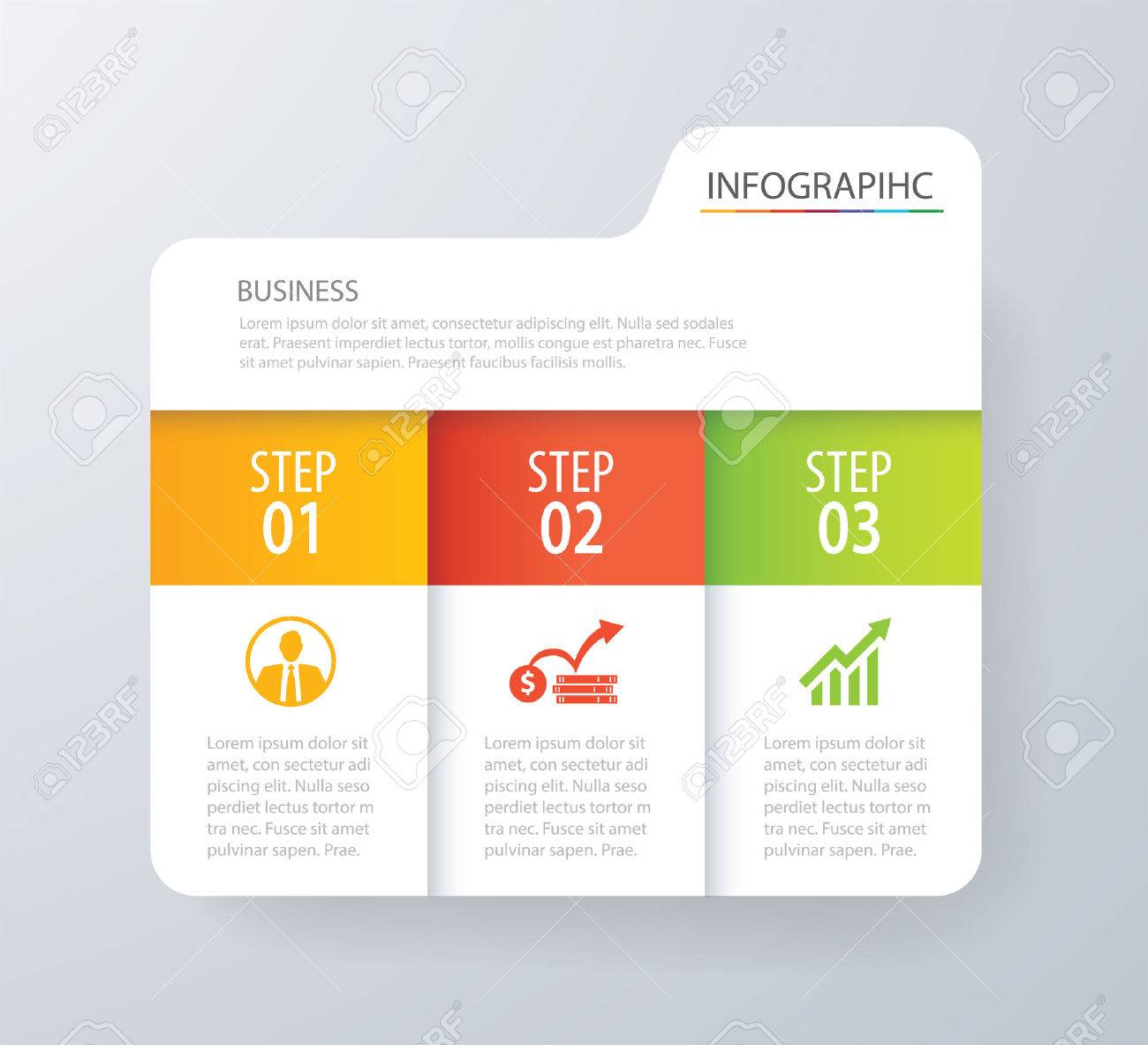 Infographic tab index design vector and marketing template business. Can be used for workflow layout, diagram, annual report, web design. Business concept with 3 options, steps or processes. Banque d'images - 73709923