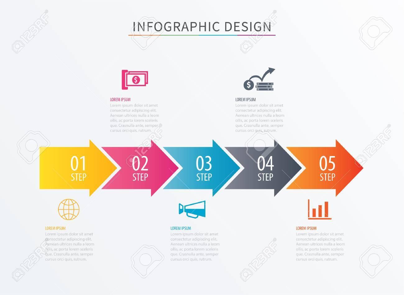 インフォ グラフィックの矢印数 5 ステップ テンプレート プロセス