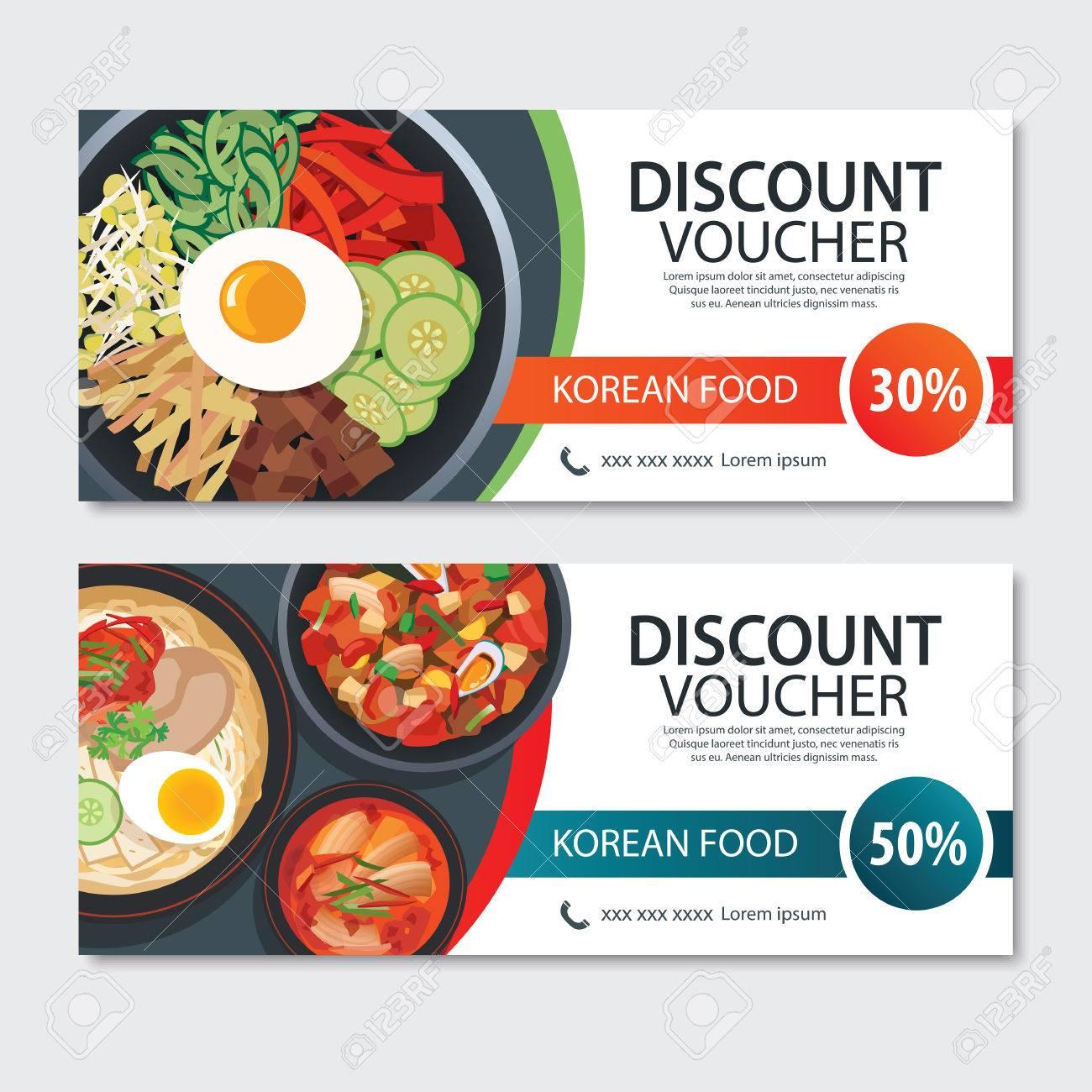 Discount Voucher Asian Food Template Design Korean Set Royalty Free