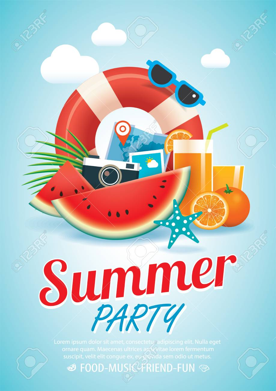 Summer Beach Party Invitation Poster Background And Elements ...