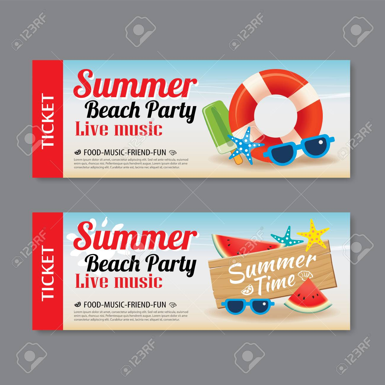 summer beach party invitation ticket template background royalty