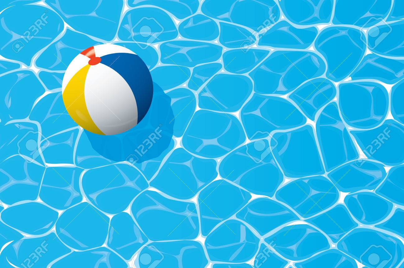 Swimming Pool Beach Ball Background beach ball floating in a blue swimming pool. summer background