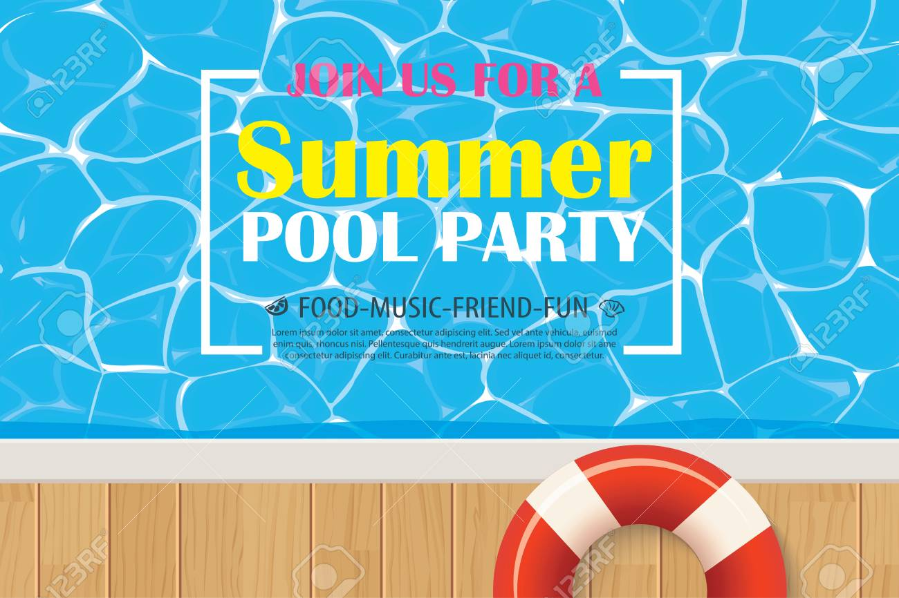 pool party invitation poster with blue water vector summer
