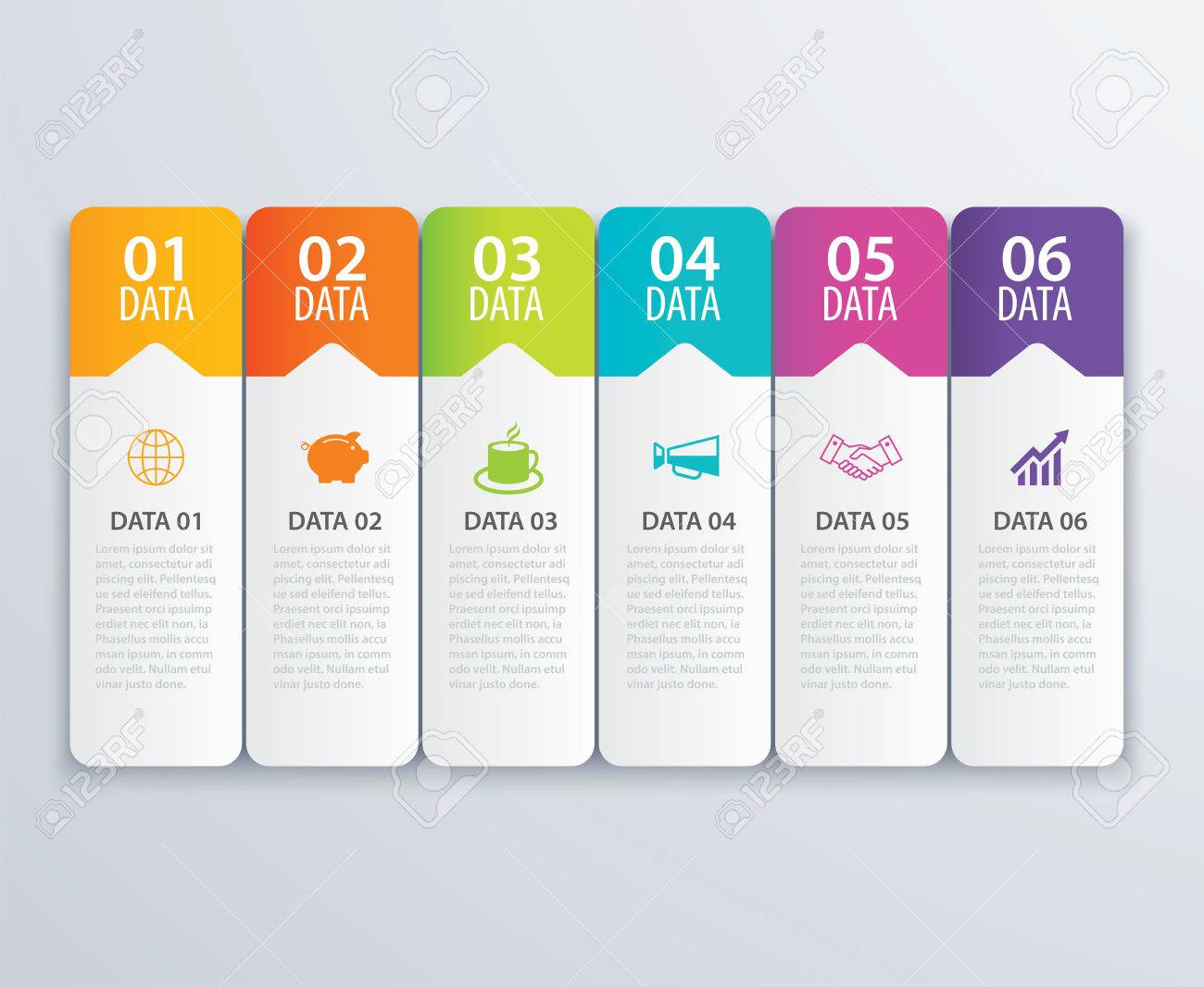 6 índice De La Lengüeta Infographic Vector Del Diseño De La Bandera ...