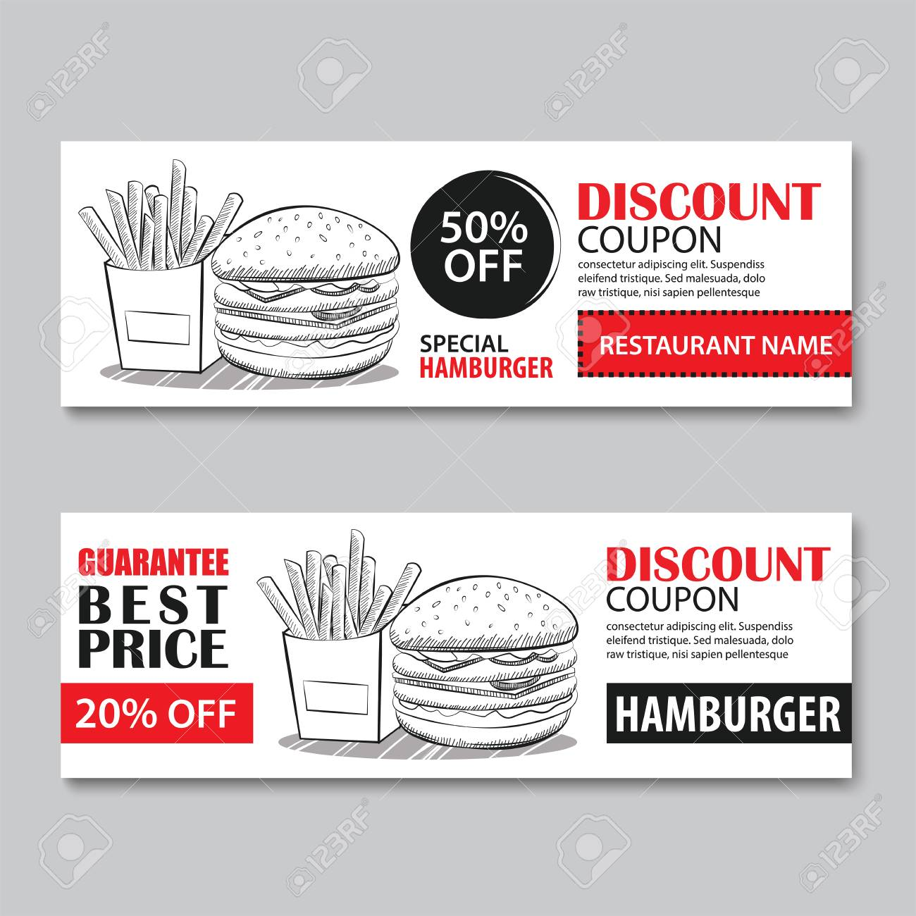 Fast Food Gift Voucher And Coupon Sale Discount Template Flat Royalty Free Cliparts Vectors And Stock Illustration Image 85404165
