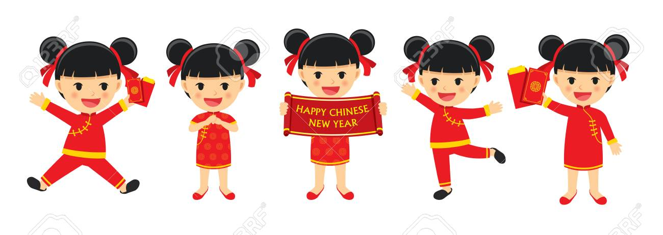 happy chinese new year girl in traditional clothes celebrate set of character cartoon isolated on