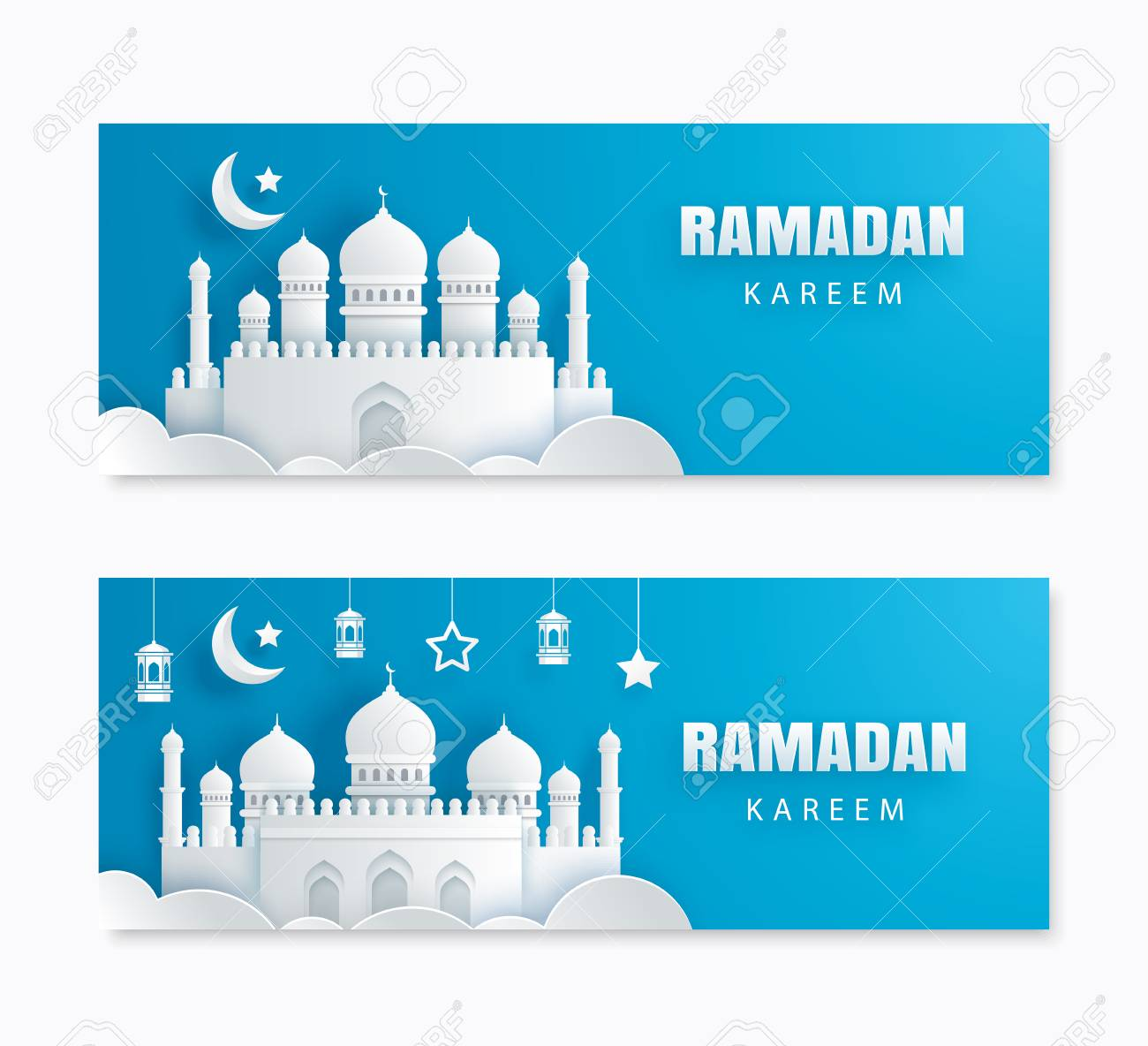 Ramadan Kareem Greeting Card With Crescent Moon Paper Art Background