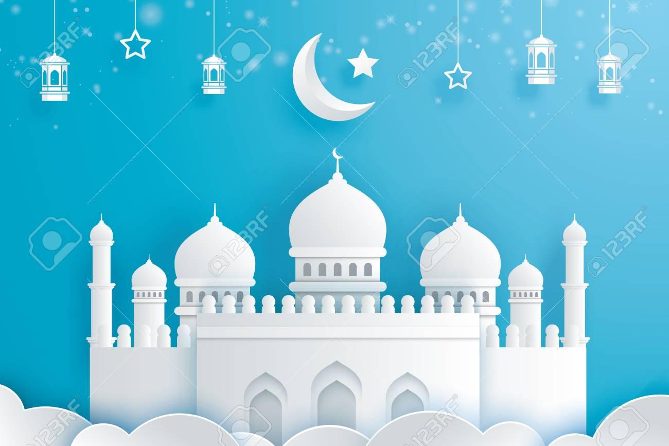 Happy eid mubarak greeting card with crescent moon paper art happy eid mubarak greeting card with crescent moon paper art background ramadan kareem vector illustration m4hsunfo