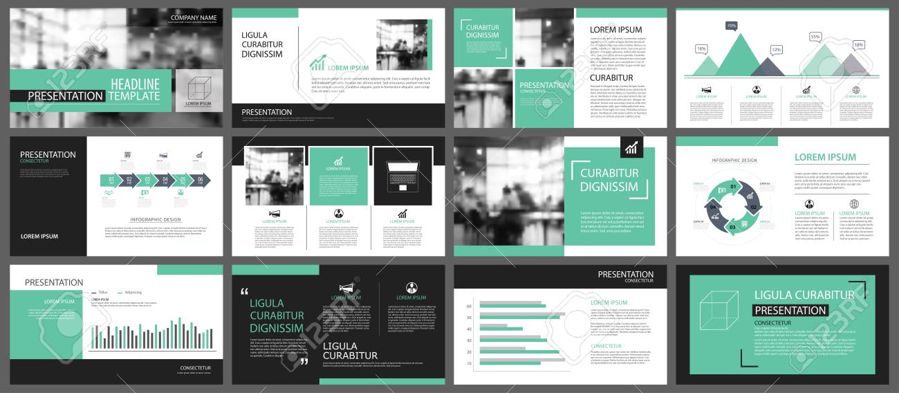 Presentation Templates | Green Presentation Templates For Slide Infographics Elements