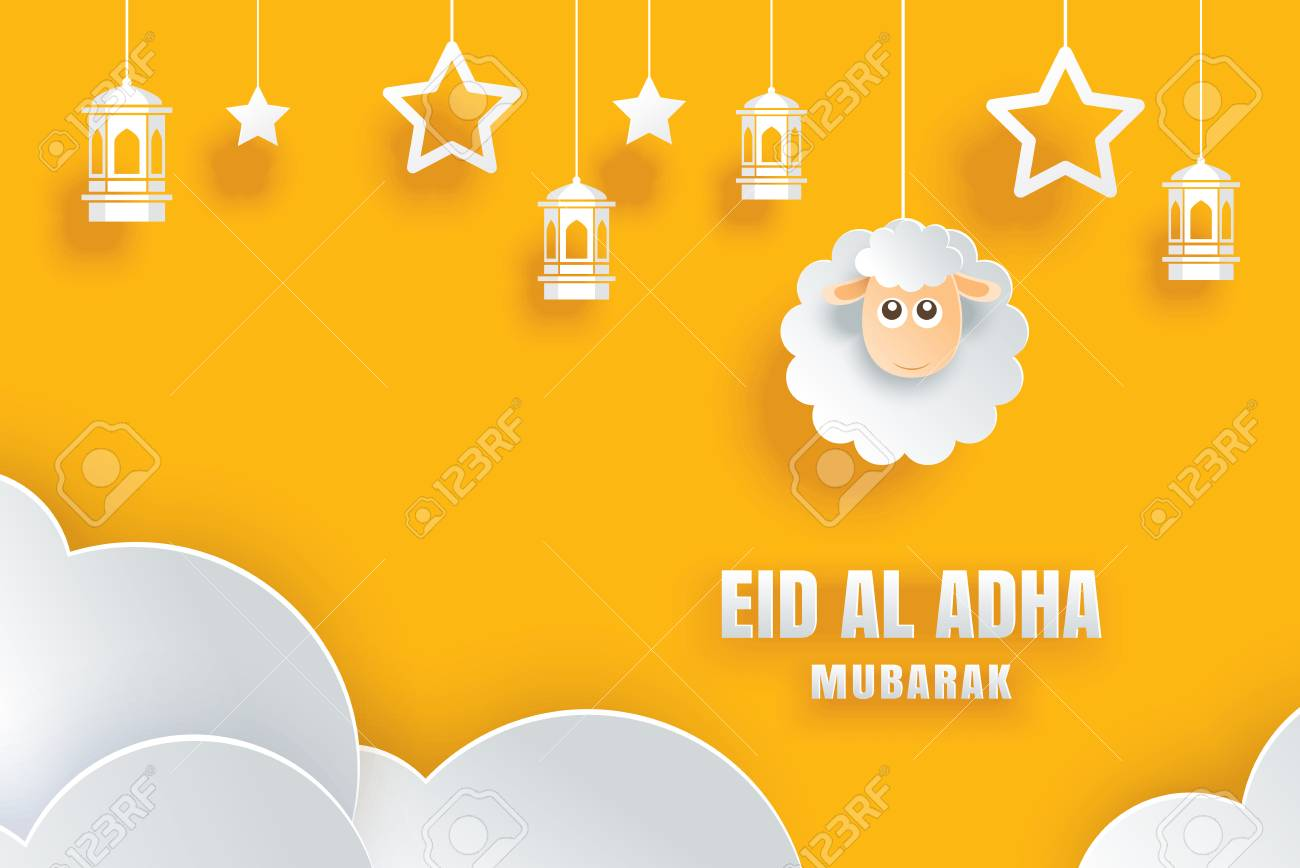 Eid Al Adha Mubarak celebration card with sheep in paper art yellow background. Use for banner, poster, flyer, brochure sale template. - 106620498